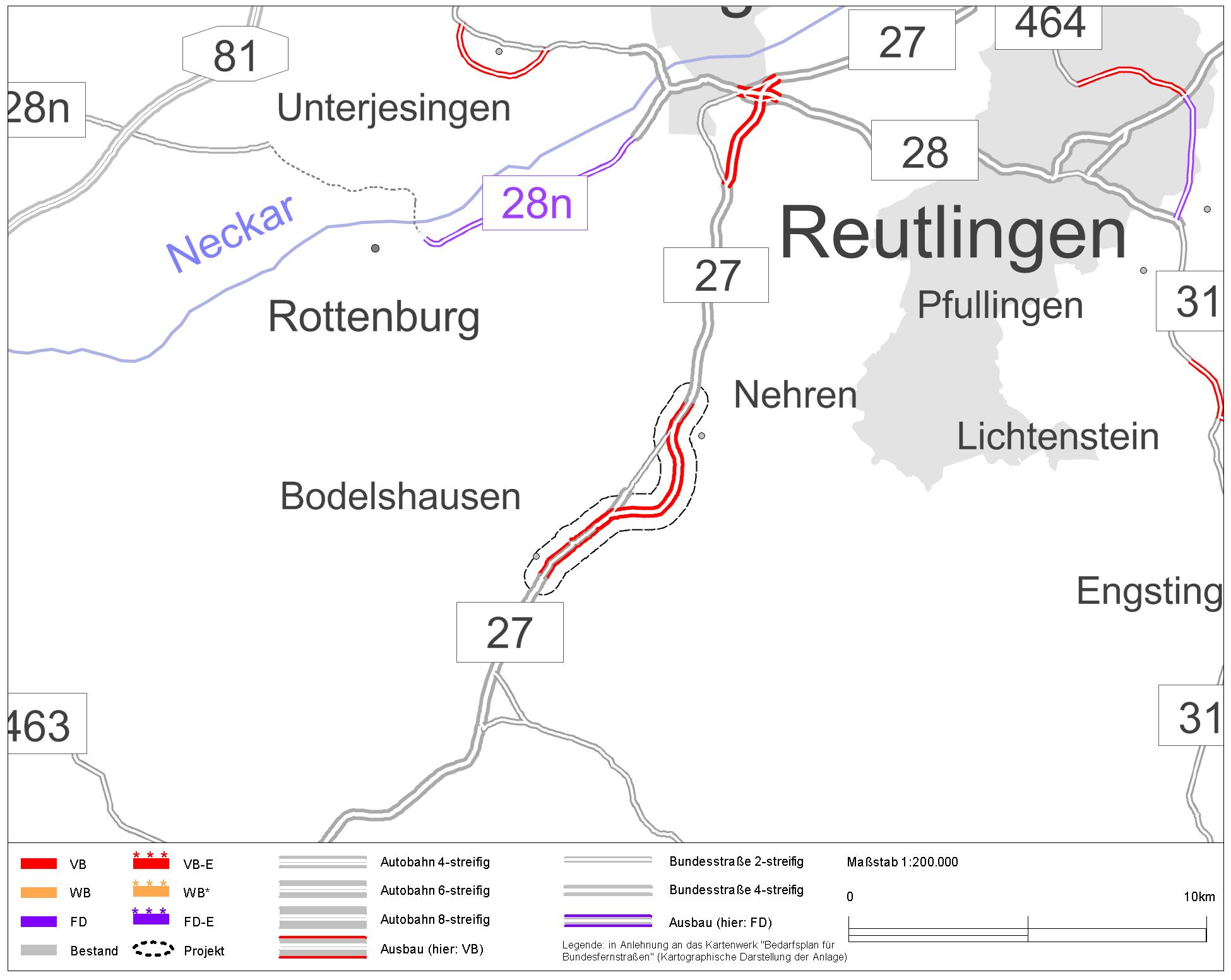 B 27 Bodelshausen (L 389) – Nehren (L 394) – Projektinformationssystem (PRINS) zum Bundesverkehrswegeplan 2030